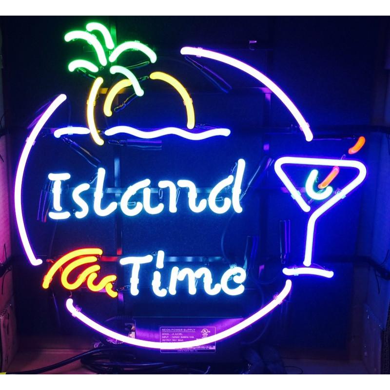 Island Time Martini Neon Bar Sign