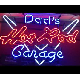 Dads Hot Rod Garage Neon Bar Sign