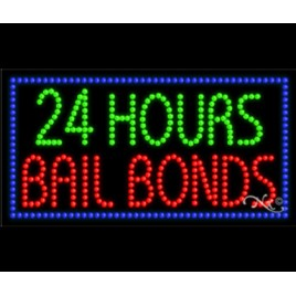 24 Hours Bail Bonds LED Sign