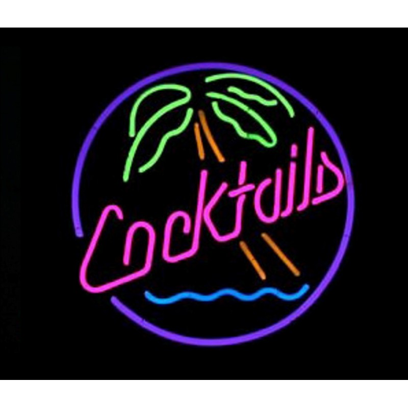Cocktails Palm Tree Wave Neon Bar Sign