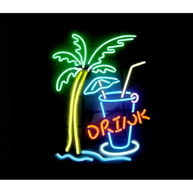 Drink w/Palm Neon Bar Sign