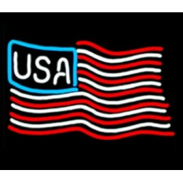 USA Flag Neon Bar Sign