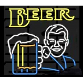 Man Holding Beer Glass Neon Bar Sign