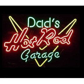Dad's Hot Rod Garage Neon Bar Sign