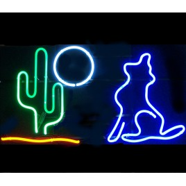 Coyote Cactus Moon Neon Bar Sign