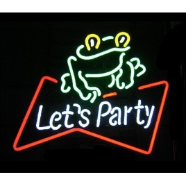 Let's Party Frog Neon Bar Sign