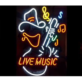 Live Music Cowboy Neon Bar Sign