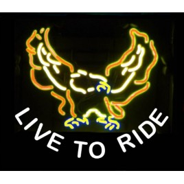 Live To Ride Eagle Neon Bar Sign
