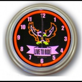 Neon Wall Clock Live To Ride