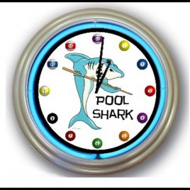Neon Wall Clock Pool Shark
