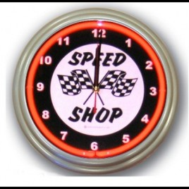 Neon Wall Clock Speed Shop