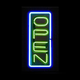 Neon Glow Vertical Open Sign