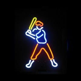 Baseball Player 2 Neon Sculpture