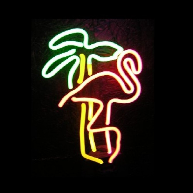 Flamingo Palm Neon Sculpture