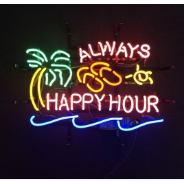 Always Happy Hour Neon Bar Sign