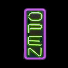 Vertical Neon Open Sign