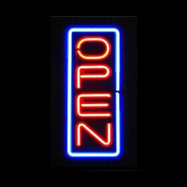 Vertical Neon Open Signs
